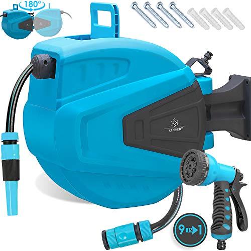 Kesser® Schlauchtrommel 20+2m Schlauchaufroller Wasser | Multi-Handbrause | 180° Schwenkbar | Aufwickelstopper | Wandhalterung | Wand-Schlauchbox | Wasserschlauchtrommel | Gartenschlauch | Blau