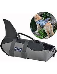 La más nueva chaqueta de vida del perro de animal doméstico del verano de la chaleco de la vida del perro La ropa linda S / M / L de la seguridad del perrito de la calidad del traje del perro del tiburón de la sirena (Tiburón gris, L)
