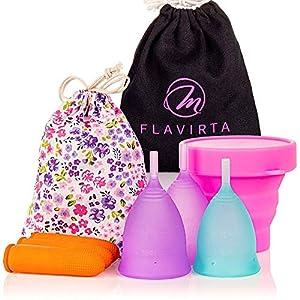 Flavirta Menstruationstasse 3x (1x klein und 2x groß), Frei Faltbare Tasse, Finden Sie die Ideale Lösung, Beste Alternative zu Damenbinden und Stoffpads