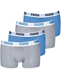 PUMA Men's Basic Boxer Shorts Pack of 4 Grey/Blue/Grey/Blue 417 - XL