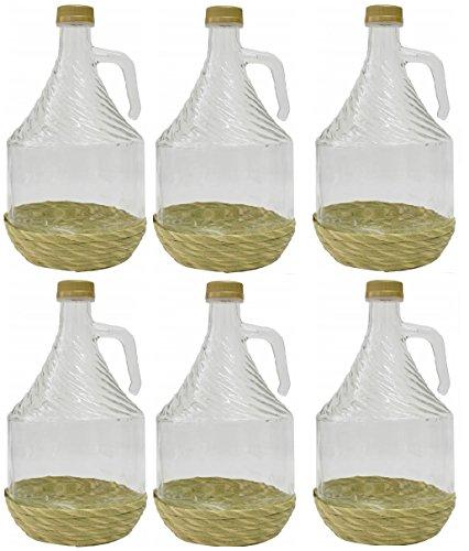 6er SET GLASBALLON GÄRBALLON FLASCHE GLASFLASCHE WEINBALLON GLAS BALLON 2L BDO2Z