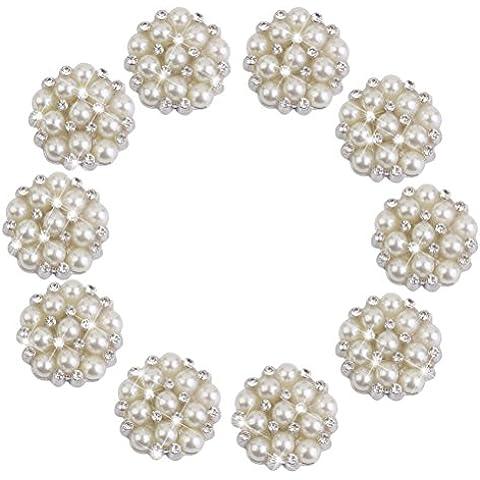 LEORX Flatback Adorno Botón - Perlas y Diamantes de Imitación Decoración 10pcs