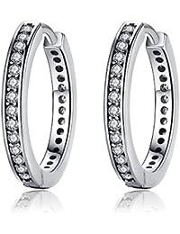 Presentski Orecchini piccoli in argento sterling 925 a cerchio zirconi regalo per donne ragazze
