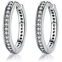 Presentski 925 Sterling Silver Circle Earrings Sleeper Hoops with Cubic Zirconia Gift for Women Girls gbjrIK