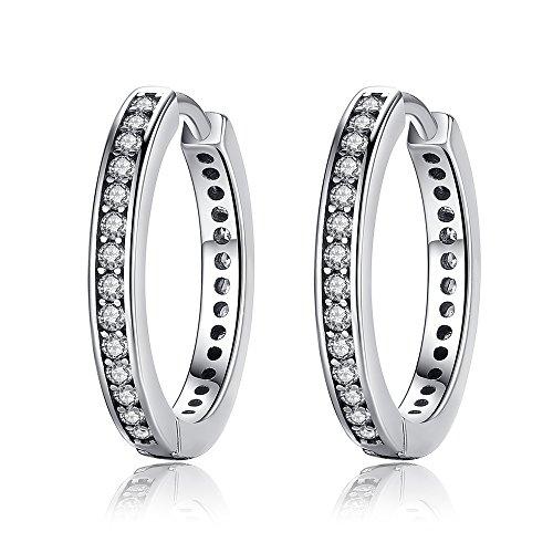 Presentski Creolen 925 Sterling Silber Kreis Ohrringe mit Zirkonia Geschenk für Frauen Mädchen - Kreise Silber