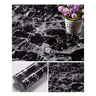 JLCorp 40cm x 200cm White Grey Marble Contact Paper Table Door Sticker Self-Adhesive Film Peel-Stick Wallpaper Gloss Countertop Shelf Liner Backsplash Furniture Sticker (Black)