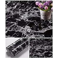 "JLCorp - Adhesivo decorativo para puerta, diseño de mármol con texto en inglés""Mármol Contact Papel"", color negro (40 cm x 200 cm)"