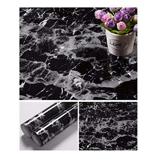 JLCorp Marmor-Kontaktpapier Tisch-Tür-Aufkleber selbstklebend Folie abziehbar Tapeten Glanz Arbeitsplatten Regal Liner Aufkleber Möbel-Aufkleber (40 x 200 cm, schwarz)