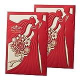 50Stück, Papier, Bronzing-Einladungskarten für Hochzeit, mit Karton, Einladung, Geschenk für Verlobung, Geburtstag, Abschluss CX068 Red