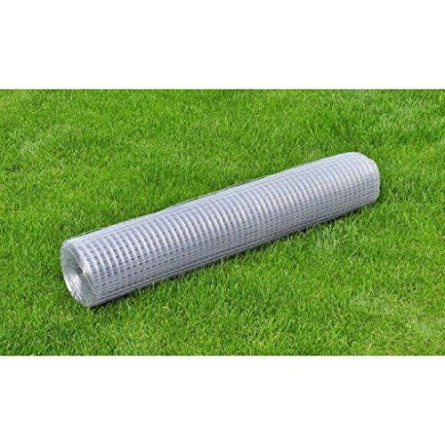 XuzhEU Garten Silber Draht Mesh Zaun Square verzinktem Stahldraht mit PVC-Beschichtung Draht, Zaunpaneele Rolle Schutz (Draht Square Silber)