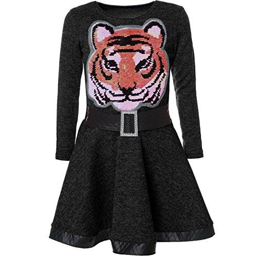 BEZLIT Mädchen Wende-Pailletten Kleid Peticoat Fest Kleider 21527 Schwarz Größe 104