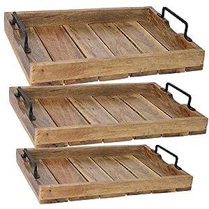 LS-LebenStil Holz Tablett Serviertablett Betttisch Betttablett Griff Mangoholz Braun L 38x25x8cm