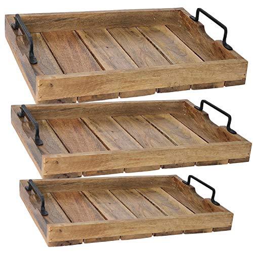 LS-LebenStil Design Holz Tablett Serviertablett Betttisch Betttablett Griff Mangoholz Braun XL 46x31x8cm