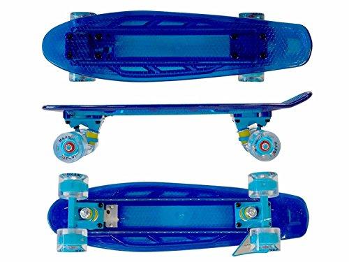 MAXOfit® Mini LED Retro Cruiser Skateboard BLAU 55 cm (22 Zoll), mit integriertem LED Lichtband und Leucht-Rollen