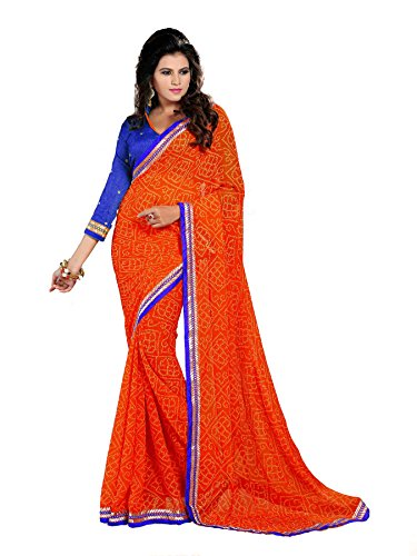 Oomph! Bandhni Printed Chiffon Saree With Dupion Silk Blouse And Embroidered Border (Indian Orange and Indigo Blue)  available at amazon for Rs.999