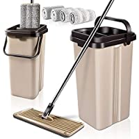MASTERTOP Self Wash & Dry Mop with 4 Pcs Mop Heads Free Hand Wash Microfiber Flat Mop and Bucket System