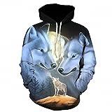 Lupo stampato 3d Hoodies Novità felpe moda Casual Cappotti maschio giacche con cappuccio divertente Body Unisex tute LMS052 M