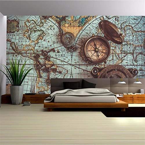 Benutzerdefinierte Tapete 3d dekorative Malerei Retro-Weltkarte Taschenuhr Hintergrund Tapeten Wohnkultur Papel de Parede Teppich Design-250x200CM