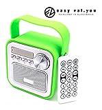 Mini Bluetooth Altavoz con Radio FM en Verde │ AUX Bluetooth USB Conector Mando a Distancia Reloj Tiempo Radio para Cocina Baño Radio Niños Radio portátil con Mango 5W Jack