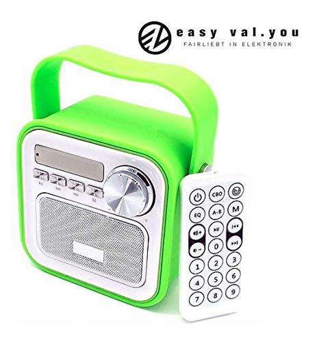 Mini Bluetooth Lautsprecher mit Radio FM Grün│Dusche Küchenradio Badradio Kinderradio Badezimmer Aux Retro USB Anschluss Fernbedienung für Küche Uhrzeit Bloothooth tragbar 5W Klinke klein Bass Kinder
