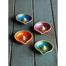 Store Indya, Colorido del oro acentuado hecho a mano de tierra de arcilla / terracota decorativo Diyas / Lamparas de petroleo por Pooja / Independencia / Puja Conjunto de 4