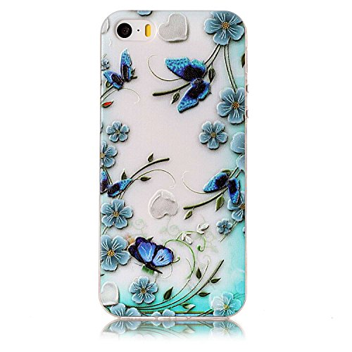 iPhone SE Custodia, iPhone 5S/5 Cover in Silicone TPU Transparente, JAWSEU Creativo Disegno Super Sottile Cristallo Chiaro Custodia per Apple iPhone 5/5S Corpeture Case Antiurto Anti-scratch Shock-Abs Fiore della farfalla blu
