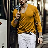serliy Herren Longsleeve tiefer V-Ausschnitt Langarm Shirt einfarbig Slim fit mit Stretchanteilen Basic deep V-Neck Tee Slim fit Stretch T-Shirt