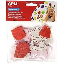 Apli 218149 - Pack de 52 corazones de goma Eva con purpurina