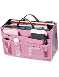 Ladies Travel Insert Handbag Organiser Tidy Bag Purse Liner Cosmetic 13 Pocket Pink