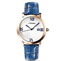 Sheli Girls Neutral Wristwatch Quartz Blue Leather Watchband Date