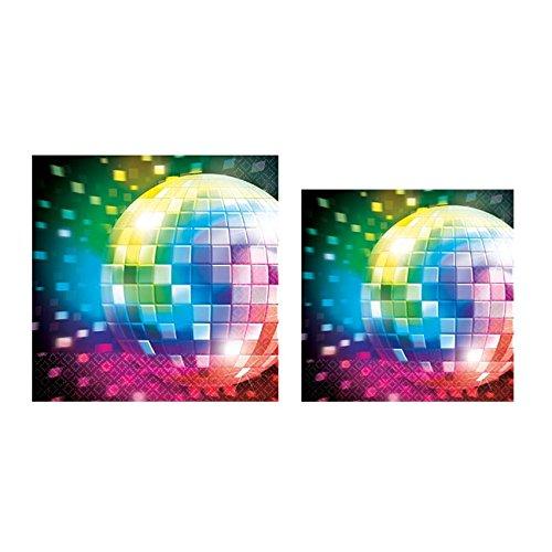 KULTFAKTOR GmbH 70er Disco Servietten Discokugel Party-Deko 16 Stück Bunt 25cm Einheitsgröße