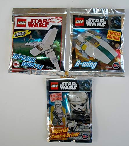Lego Star Wars 3er Set Polybag Imperial Combat Driver , A-Wing , Imperial Shuttle und 2 Bauanleitungen, bmg2000 Goldstickeraufkleber Ovp auch für Adventskalender