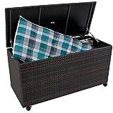 nxtbuy Auflagenbox MIRANO aus Alu/Kunststoffgeflecht in Coffee 277 Liter Fassungsvermögen Wasserfeste Gartenbox mit Rollen und Gasdruckfeder-Deckel