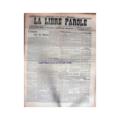 LIBRE PAROLE (LA) [No 5394] du 26/01/1907 - L'IMPOT SUR LA RENTE - BRIAND ET LES INSTITUTEURS - ELECTIONS ALLEMANDES - GASTON MERY - LES DROITS DE MANIFESTATION - AU VATICAN - AFFAIRE JULIEN CARON-MOUTHON.