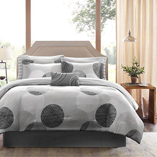 SCM Bettwäsche 155x220cm Grau Kreise Mikrofaser 3-teilig Bettbezug & Kissenbezüge 80x80cm Angenehm und Weich Allergiker geeignet Knowles Ideal für Gästezimmer