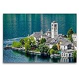 Premium Tessile della Tela 120cm x 80cm Croce, Isola San Giulio im Iseo del Lago | murale, Immagine su Telaio, pronta da Quadro su Vera Tela, Stampa su Tela