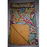 Paisley Kantha Quilt, algodón de la India colcha, doble tamaño hoja de cama reversible, hecho a mano Kantha manta