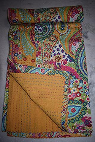 Paisley Kantha Quilt, Indian Cotton Bedspread, Twin Size Reversible Bed Sheet, Handmade Kantha Throw