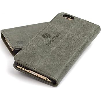 EDELHAUT Handytasche mit unsichtbarem Magnetverschluss in grau für Apple iPhone 6 und 6S 4.7 aus echtem Leder