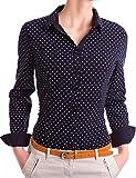 Damen Figurbetonte Langarm Bluse Business Hemd tailliert mit Punkten (533), Farbe:Schwarz, Größe:Large