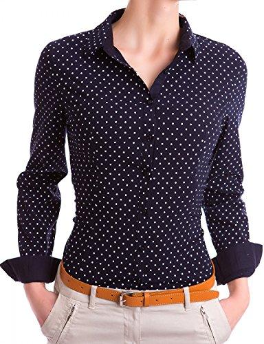 Damen Figurbetonte Langarm Bluse Business Hemd Tailliert mit Punkten (533), Farbe:Schwarz, Größe:Small (Body-slim-fit-hemden)
