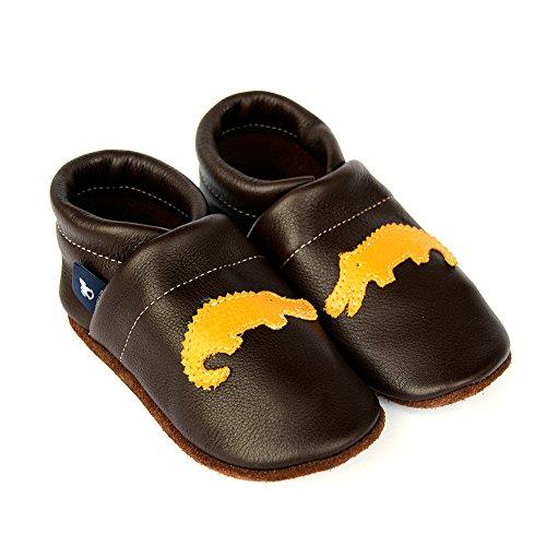 pantau.eu Kinder Lederpuschen Krabbelschuhe Babyschuhe Lauflernschuhe mit Krokodil DUNKELBRAUN_GELB