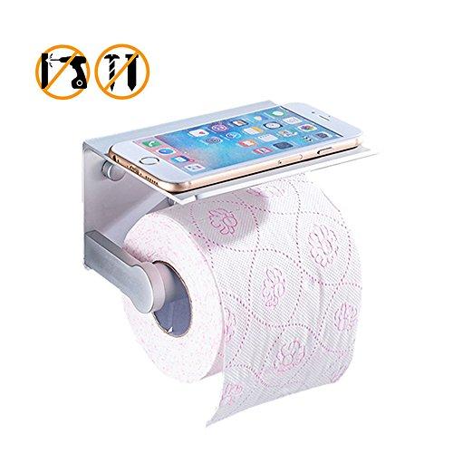 YZCX Toilettenpapierhalter ohne Bohren toiletten papierhalter Klopapierhalter mit Ablage für Handy, Aluminium (Tragen Wc-papierhalter)
