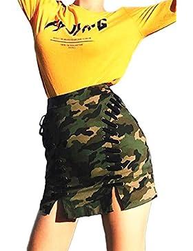 La Mujer Casual Pantalones De Camuflaje Venda Faldas De Hendidura Lateral