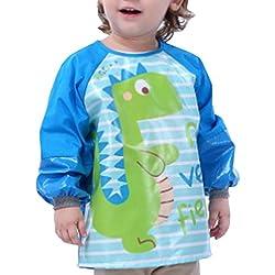 Happy Cherry - Delantal Blusón Babero Impermeable Infantil para pintar con mangas largas para Bebés niños niñas(1-2 años)- M - Dinosaurio