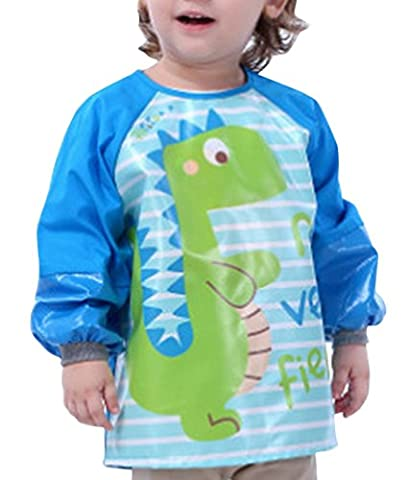Bavoir Tablier de Peinture Enfant Manches Longues Imperméable Repas Garçon Motif Dinosaure 4-6ans
