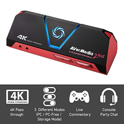 AVerMedia Live Gamer Portable 2 Plus Dispositivo para capturar Video USB 2.0 - Capturadora de vídeo (60 pps, 480i,480p,576p,720p,1080i,1080p,2160p, AAC, H.264,MPEG4, 185,5 g, 147 mm)