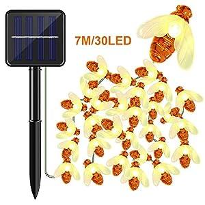 Olycism Solar Lichterkette Außen mit 30 LEDs 7 Meter 2 Modi IP65 Wasserdicht Lichterketten Außen Bienen Deko für Garten Bäume Terrasse Hof Haus Weihnachten Party Warmweiß