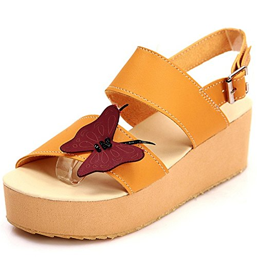 TAOFFEN Femmes Mode Bout Ouvert Sandales Compensees Plateforme Slingback Ete Chaussures 787 Jaune