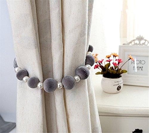 Occientec 1paio di tende con fermatenda holdbacks fermatenda con perline perle decorative home per tende grey